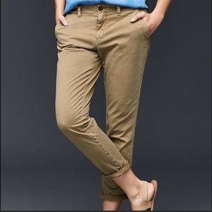 Gap Twill Stripe Girlfriend Chino Khaki Size 2